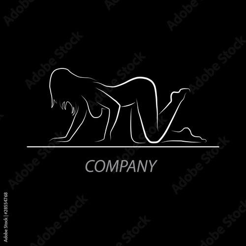 Logo Sexy shop. Profile of nude woman # Vector