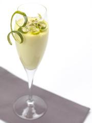 lemon mousse in a flute glass