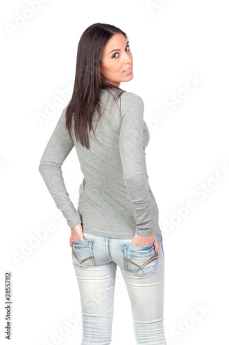 Attractive girl on back with hands in pocket