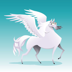 Pegasus. Funny cartoon and vector isolated character