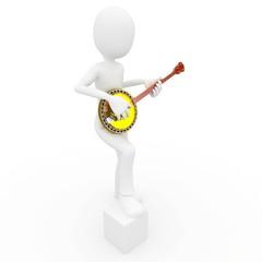 3d man with banjo