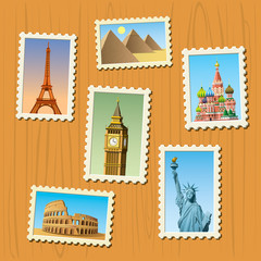 famous destinations stamps