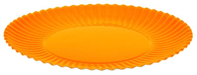 assiette orange de pique nique