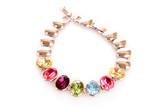 Fototapety silver and diamonds bracelet with color  stones on white backgro