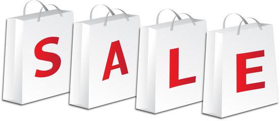white sale shopping bags