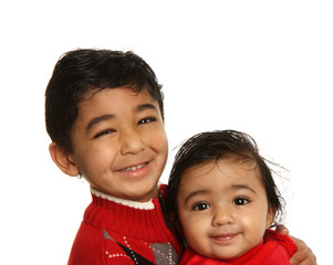Smiling Siblings - Older Brother Holding Baby Sister