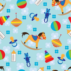 Seamless background with child toys