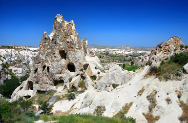 Caved rock carved monastery in Goreme (Cappadocia, Turkey)