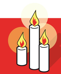 tres velas con fondo rojo