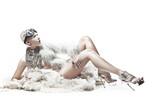 Fototapety Sexy blonde lady wearing fur