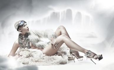 Sexy blonde lady wearing fur