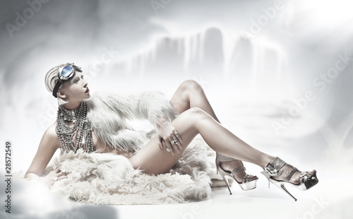 Fototapeta Sexy blonde lady wearing fur