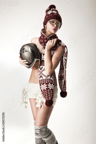 Cute woman wearing scarf