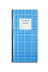 blue plaid account book isolated