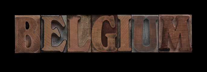 the word Belgium in old letterpress wood type