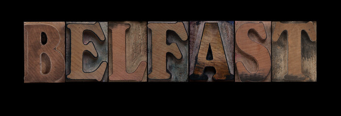 the word Belfast in old letterpress wood type