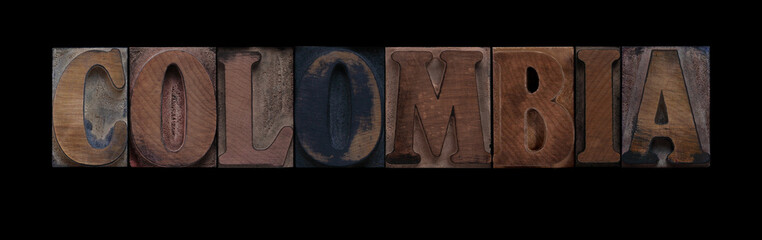 the word Colombia in old letterpress wood type