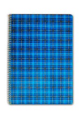 blue plaid cover nootebook isolated