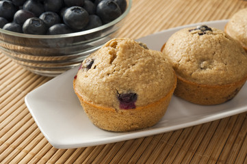 Blueberry Muffins and Bowl of Blueberries