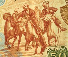 Horsemen Competing at Buzkashi
