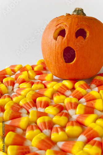Suprised Jack-o-lantern with Candy Corn