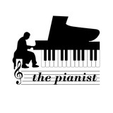 Logo Music Store. The pianist # Vector