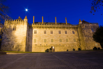 Night view of Palace of Duques de Braganca, in Guimaraes, Portug