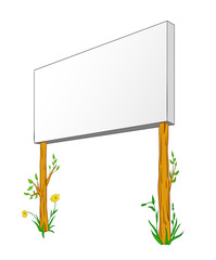 Blank Billboard On wooden column