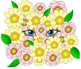 Beauty cartoon eyes looking throw flowers