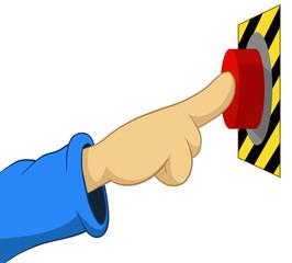 Cartoon hand push the button