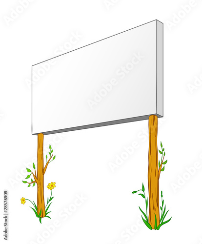 Blank Billboard On wooden column