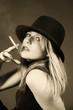 Beautiful blonde girl smoking