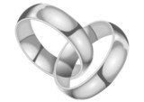 Two silver rings, chained