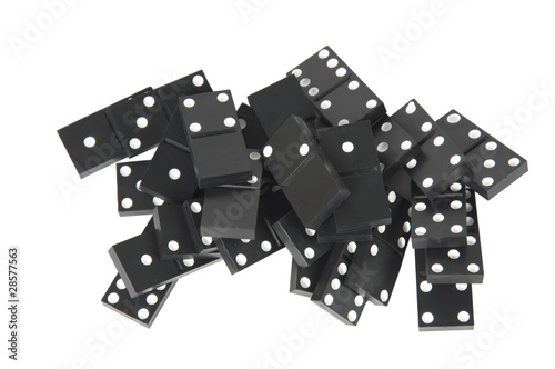 Black dominoes isolated on white background