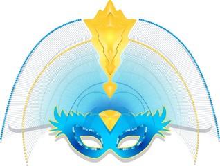 Maschera Carnevale Blu-Blue Carnival Mask-Vector