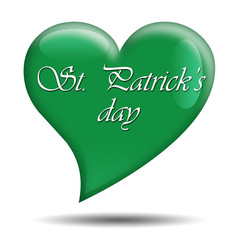 Corazon brillante verde texto St Patrick's Day
