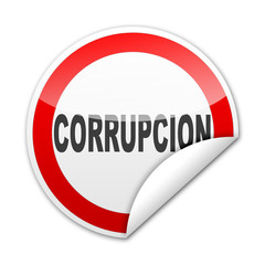 Pegatina señal CORRUPCION con reborde