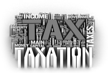 Huge group of 3D Tax related terms on white