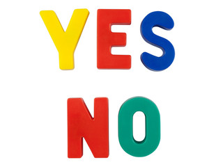 "Colored words ""YES"" and ""NO"""