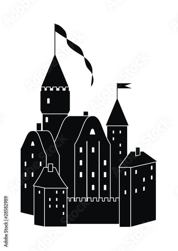 Vector medieval castle of black silhouette