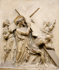 Vienna - relief Christ with the cross and and mother Mary