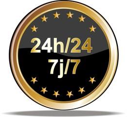 bouton 24h/24 et 7j/7