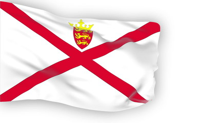 Jersey flag slowly waving. White background. Seamless loop.