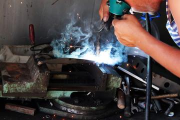 Worker   welder  handicraft  process