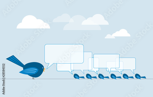 Birds on wire illustration