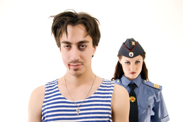 criminal and policeman