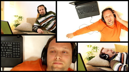 Man with headphones and laptop, montage