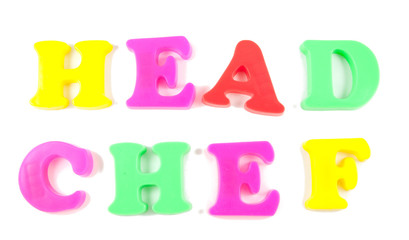 head chef written in fridge magnets on white background