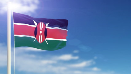 Kenya flag waving. Sky background. Seamless loop.