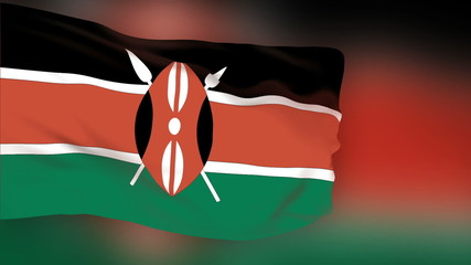 Kenya flag slowly waving. Blurred background. Seamless loop.